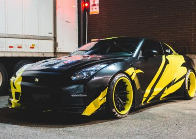 Great Vehicle Wrap with Designs on this Mustang